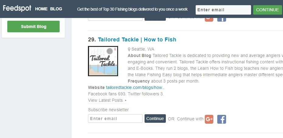 Tailored Tackle Blog #29 on Feedspot's Top Fishing Blogs
