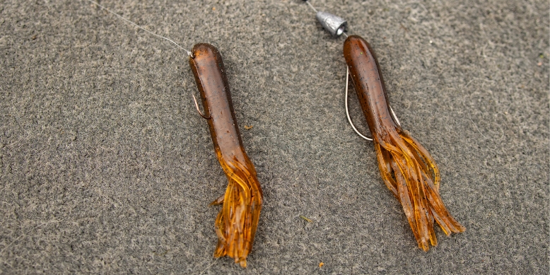 Brown Tube Jig Weedless EWG Worm Hook Smallmouth Bass Lure