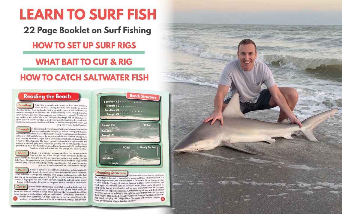 Tailored Tackle Surf Fishing Book Saltwater Tackle Box Shark Snook Red Drum