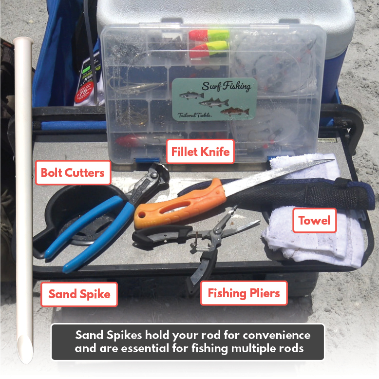 Beach Fishing Gear Pliers Knife Sand Spike Towel Tailored Tackle 1