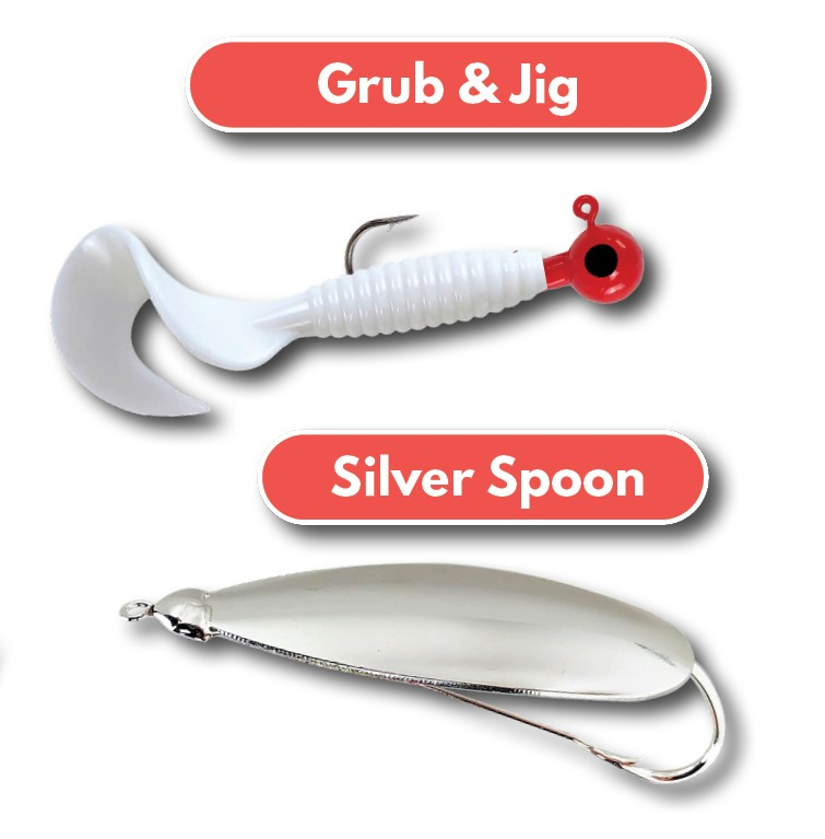Surf Fishing Lures Weedless Spoon White Grub for Snook Tailored Tackle