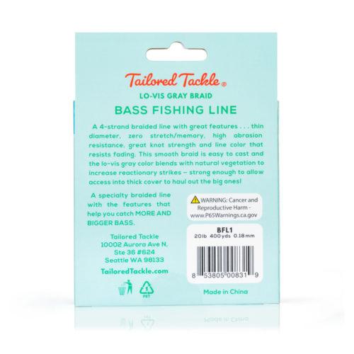 Bass Fishing Line Braided 20 Lb 400 Yds Lo-Vis Gray Night
