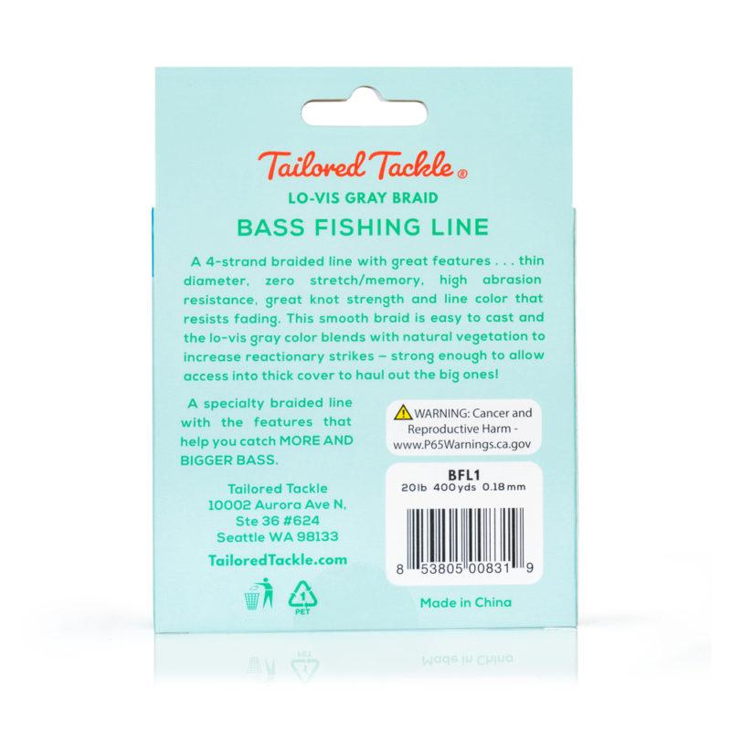 Bass Fishing Line Braided 20Lb 400Yds Lo-Vis Gray Night 4 Strand Braid Back