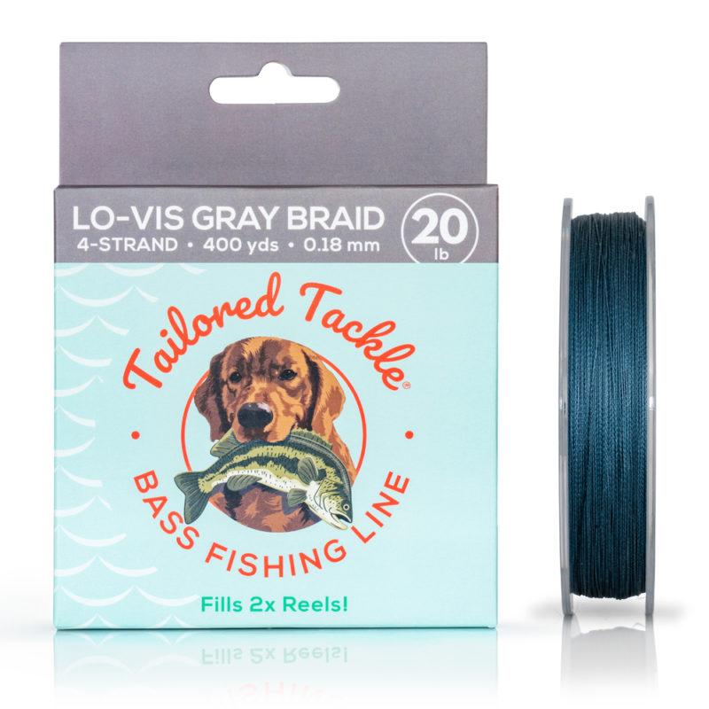 Bass Fishing Line Braided 20Lb 400Yds Lo-Vis Gray Night 4 Strand Braid Front