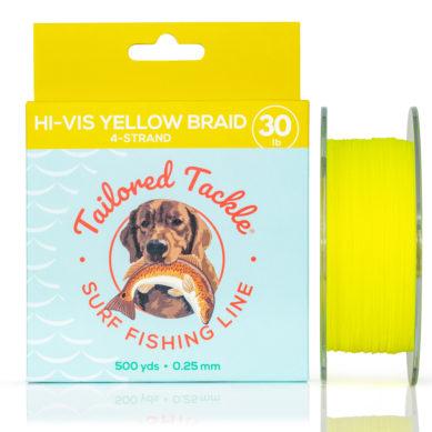 Surf Fishing Line Saltwater Braided 30lb 500yds Hi-Vis Yellow Braid Front