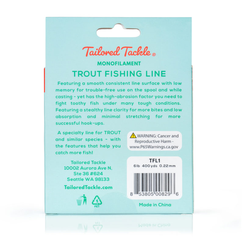 Trout Fishing Line Monofilament 6lb 400yds Spool Ultra Clear Back