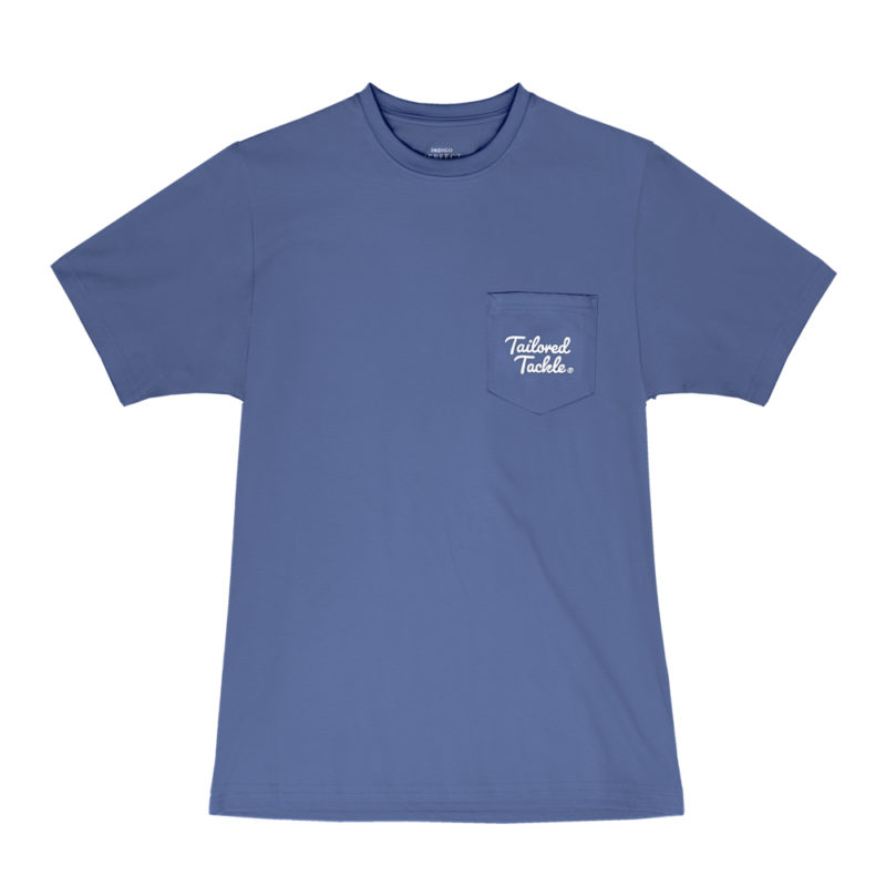 Tailored Tackle Trout Fishing Pocket Tee Navy Mens Front
