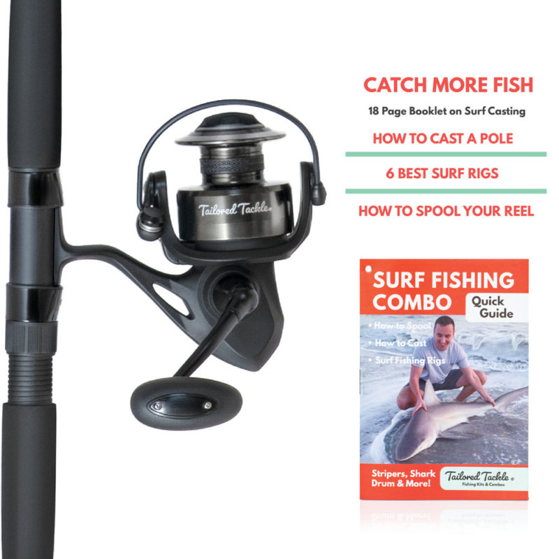 Tailored Tackle Surf Fishing Rod Reel Combo 10 Foot Ft Saltwater Rod 7000 Surf Reel Medium Heavy Moderate Fast 10